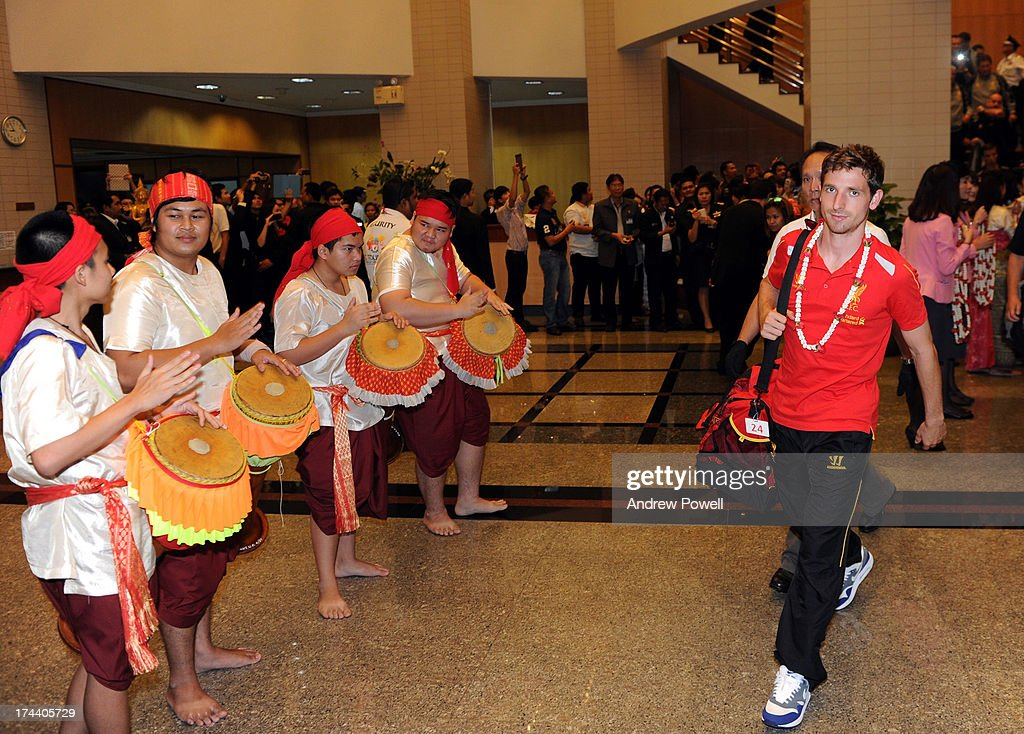 Joe Allen of Liverpool arrives in Bangkok for a stop on the club's Pre-Season tour on July 25, 2013 in Bangkok, Thailand.