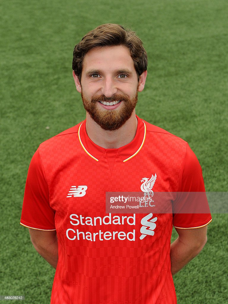 Joe Allen of Liverpool during a portrait shoot at Melwood Training Ground on August 5, 2015 in Liverpool, England.