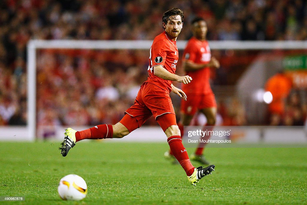 Joe Allen of Liverpool in action during the UEFA Europa League group B match between Liverpool FC and FC Sion at Anfield on October 1, 2015 in Liverpool, United Kingdom.