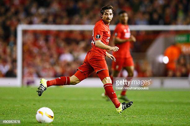 Joe Allen of Liverpool in action during the UEFA Europa League group B match between Liverpool FC and FC Sion at Anfield on October 1 2015 in...