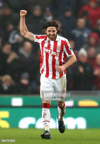Joe Allen of Stoke City celebrates scoring the opening goal during the Premier League match between Stoke City and Crystal Palace at Bet365 Stadium...