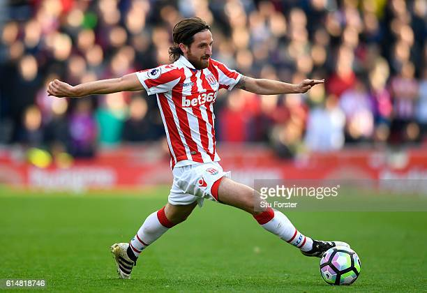 Joe Allen of Stoke City in action during the Premier League match between Stoke City and Sunderland at Bet365 Stadium on October 15 2016 in Stoke on...