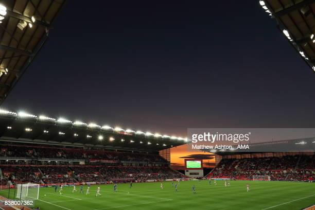 Joe Allen of Stoke City scores a goal to make it 30 during the Carabao Cup Second Round match between Stoke City and Rochdale at Bet365 Stadium on...