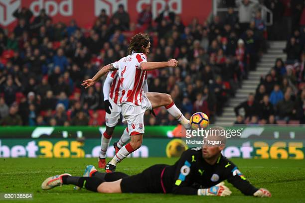 Joe Allen of Stoke City scores his sides second goal during the Premier League match between Stoke City and Leicester City at Bet365 Stadium on...
