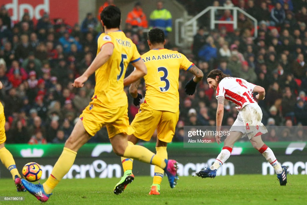 Joe Allen (R) of Stoke City scores the opening goal during the Premier League match between Stoke City and Crystal Palace at Bet365 Stadium on February 11, 2017 in Stoke on Trent, England.