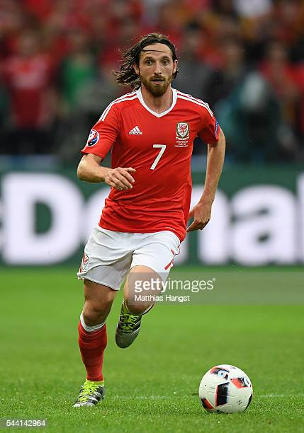 Joe Allen of Wales in action during the UEFA EURO 2016 quarter final match between Wales and Belgium at Stade PierreMauroy on July 1 2016 in Lille...