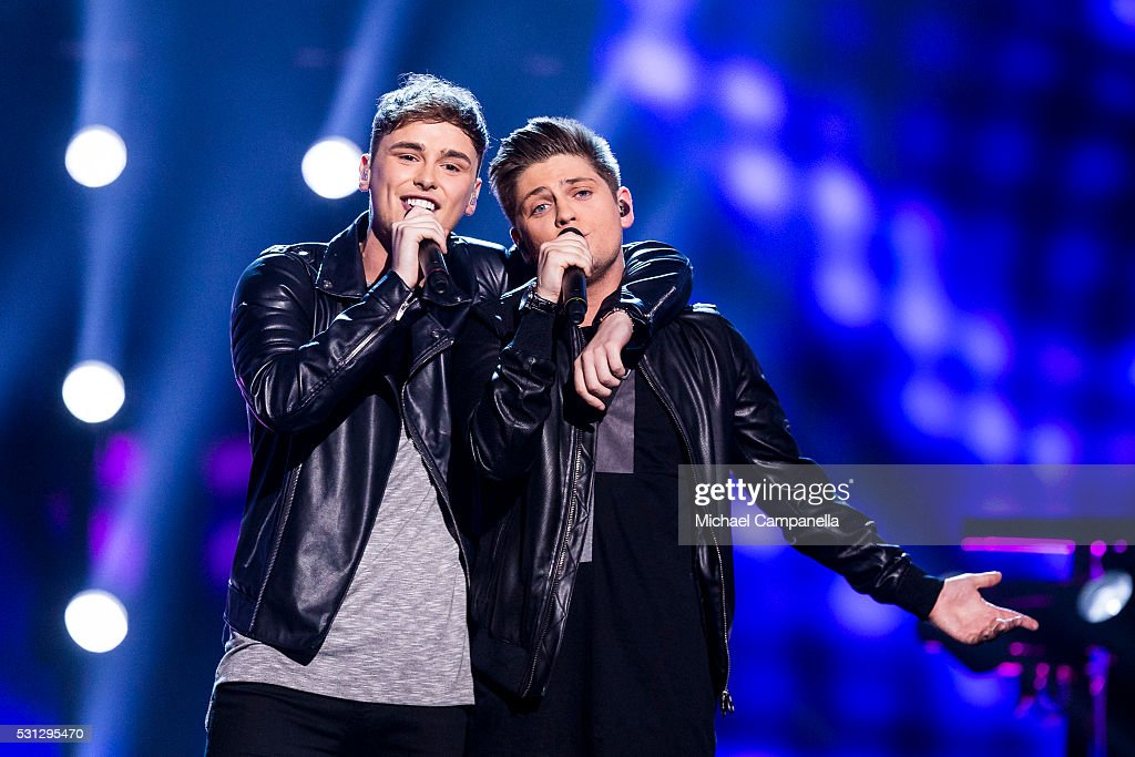 Joe and Jake representing United Kingdom perform the song 'You're Not Alone' during the final dress rehearsal of the 2016 Eurovision Song Contest at...