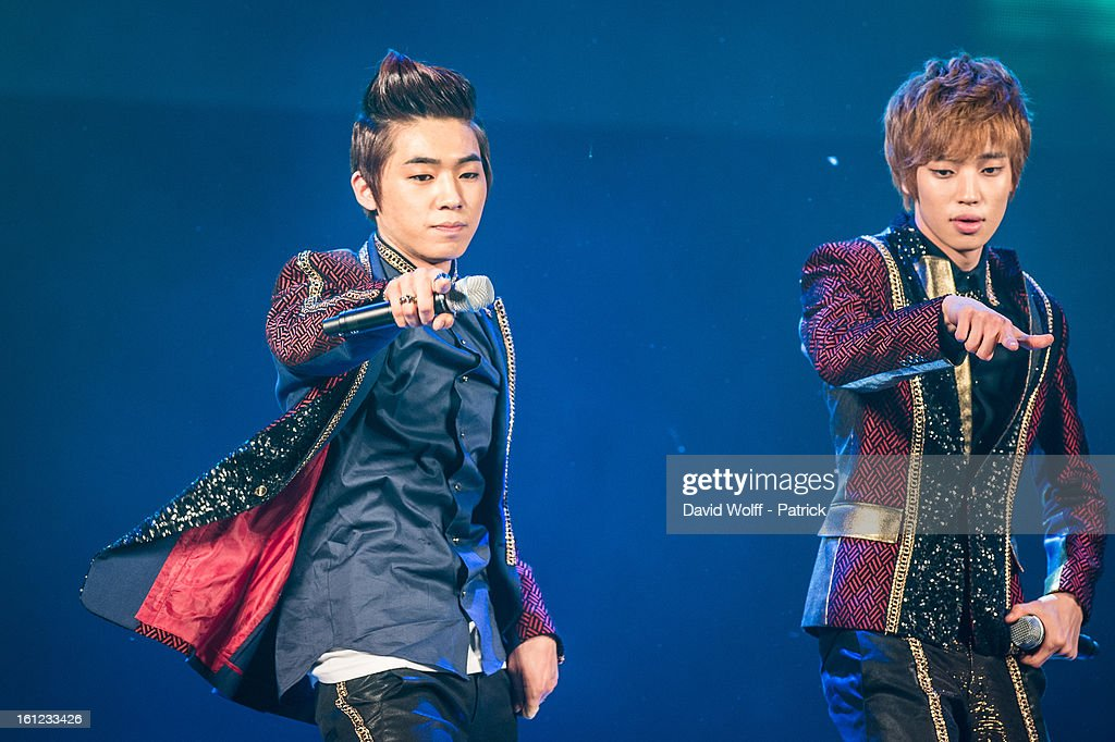 L Joe and Niel from Teen Pop perform at Le Trianon on February 9, 2013 in Paris, France.