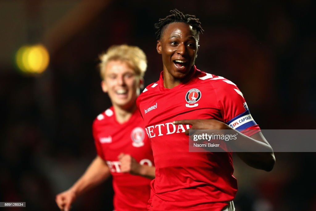 Joe Aribo of Charlton celebrates after scoring his sides third goal to win the match during the Checkatrade Trophy match between Charlton and Fulham at The Valley on November 1, 2017 in London, England.