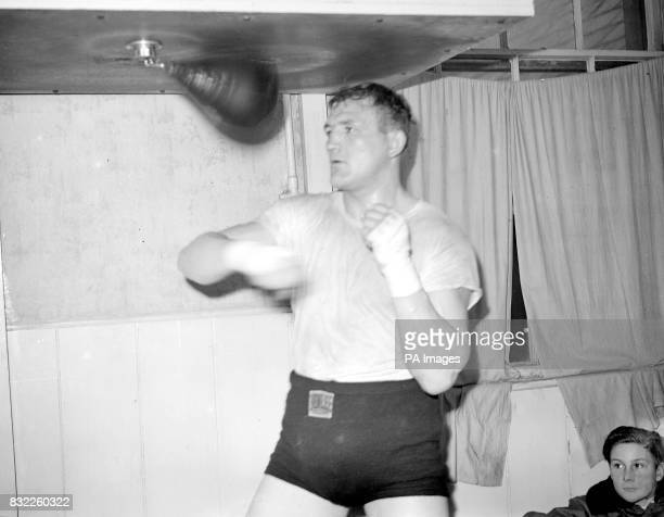 Joe Baksi the American heavyweight goes to work on the punchball during training at Brighton for his heavyweight contest with Bruce Woodcock at...