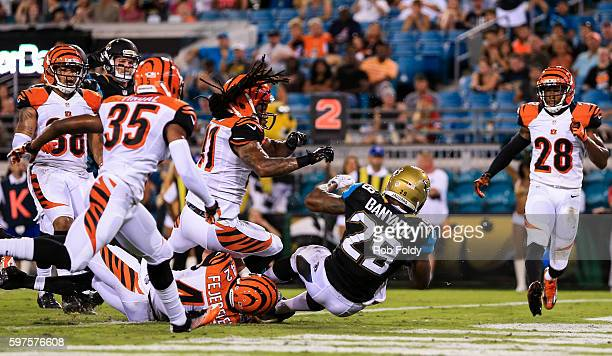 Joe Banyard of the Jacksonville Jaguars scores a touchdown during the second half of the preseason game against the Cincinnati Bengals at EverBank...