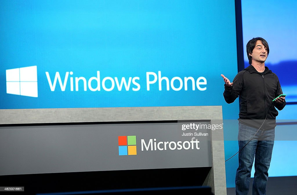 Joe Belfiore, corporate vice president and manager for Windows Phone, delivers a keynote address at the 2014 Microsoft Build developer conference on April 2, 2014 in San Francisco, California. The 2014 Microsoft Build developer conference runs through April 4.
