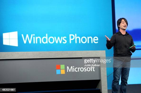 Joe Belfiore corporate vice president and manager for Windows Phone delivers a keynote address at the 2014 Microsoft Build developer conference on...