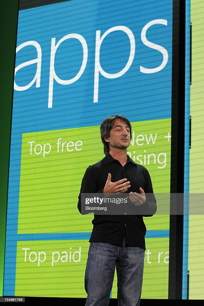 Joe Belfiore, vice president at Microsoft Corp., speaks at an event to unveil Windows Phone 8 software in San Francisco, California, U.S., on Monday, Oct. 29, 2012. Microsoft Corp. unveiled a new version of its software for smartphones today, redoubling an effort to regain market share lost to Apple Inc. and Google Inc. Photographer: Tony Avelar/Bloomberg via Getty Images