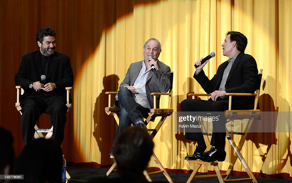 Joe Berlinger Paul Simon and Bob Costas attend 'Under African Skies Paul Simon's Graceland Journey' at Ziegfeld Theater on June 5 2012 in New York...