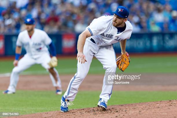 Joe Biagini of the Toronto Blue Jays delivers a pitch against the Chicago White Sox during the second inning at Rogers Centre on June 16 2017 in...