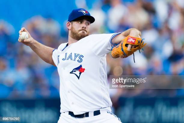 Joe Biagini of the Toronto Blue Jays delivers a pitch against the Chicago White Sox during the first inning at Rogers Centre on June 16 2017 in...