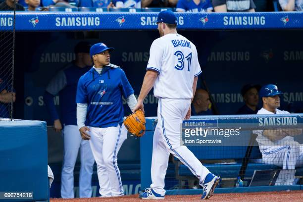 Joe Biagini of the Toronto Blue Jays leaves the game during the third inning against the Chicago White Sox at Rogers Centre on June 16 2017 in...
