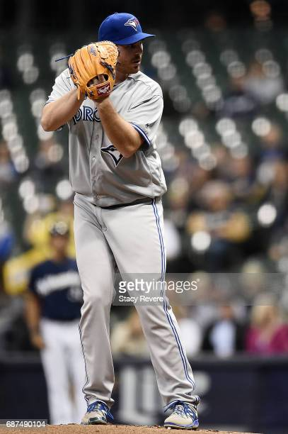 Joe Biagini of the Toronto Blue Jays pitches during the first inning of a game against the Milwaukee Brewers at Miller Park on May 23 2017 in...