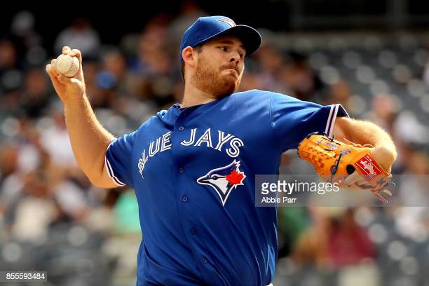 Joe Biagini of the Toronto Blue Jays pitches during the first inning against the New York Yankees at Yankee Stadium on September 29 2017 in the Bronx...