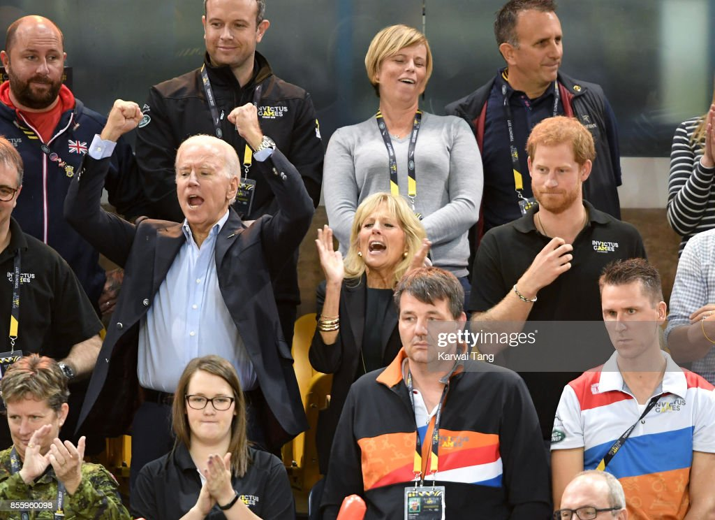 Joe Biden, Jill Biden and Prince Harry attend the Wheelchair Basketball Finals on day 8 of the Invictus Games Toronto 2017 at Mattamy Athletic Centre on September 30, 2017 in Toronto, Canada. The Games use the power of sport to inspire recovery, support rehabilitation and generate a wider understanding and respect for the Armed Forces.