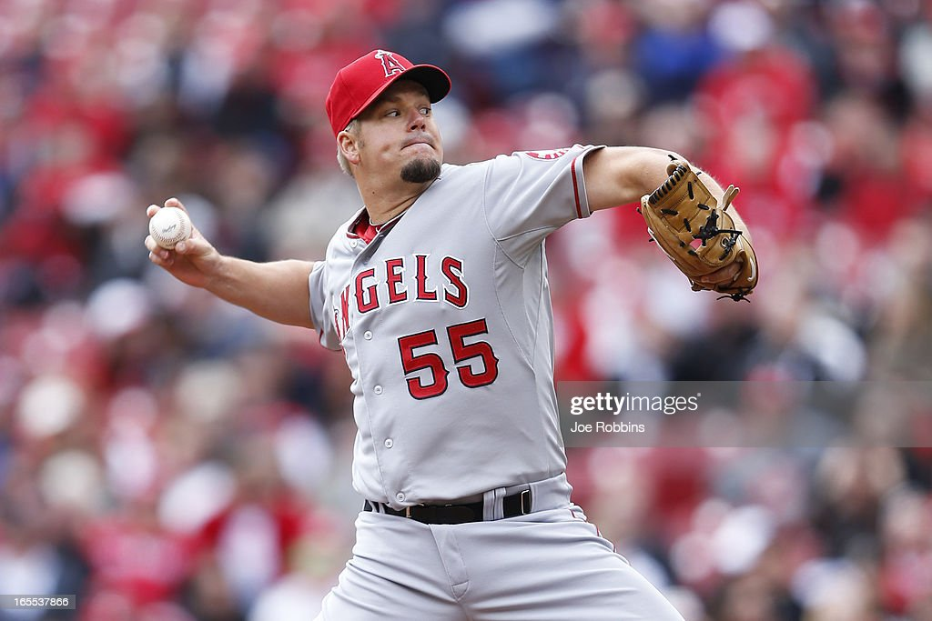 Joe Blanton #55 of the Los Angeles Angels of Anaheim pitches against the Cincinnati Reds during the game at Great American Ball Park on April 4, 2013 in Cincinnati, Ohio.