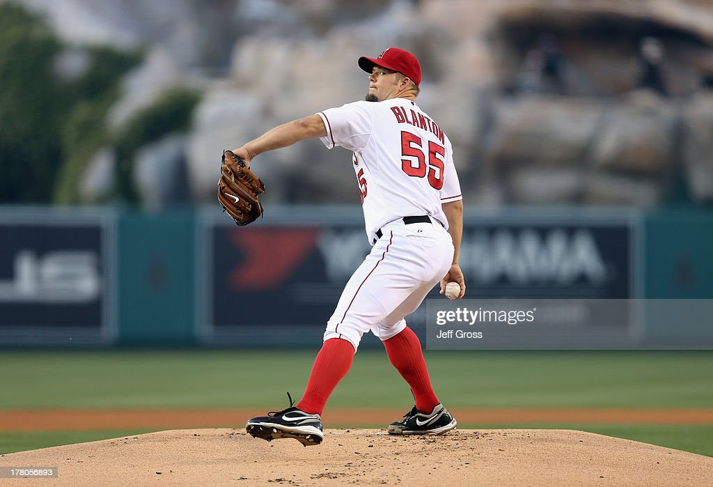Joe Blanton #55 of the Los Angeles Angels of Anaheim pitches against the Baltimore Orioles at Angel Stadium of Anaheim on May 2, 2013 in Anaheim, California.