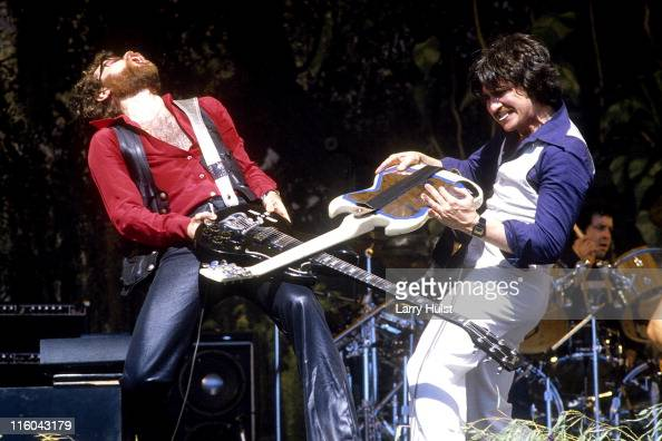 Joe Bouchard and Buck Drama playing with 'Blue Oyster Cult' performing at Oakland Coliseum in Oakland California on June 6 1981