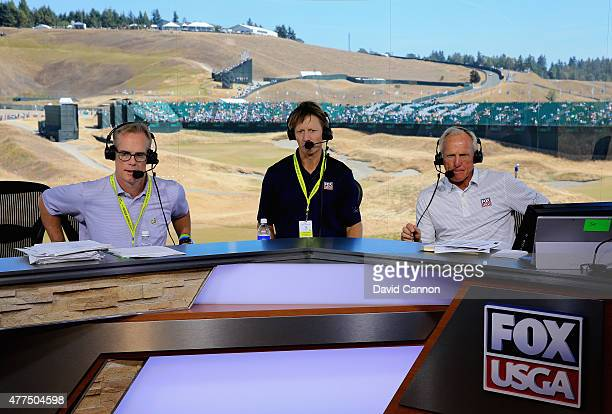 Joe Buck Brad Faxon and Greg Norman Fox Sports TV Analysts are seen on set during rehearsal prior to the start of the 115th US Open Championship at...