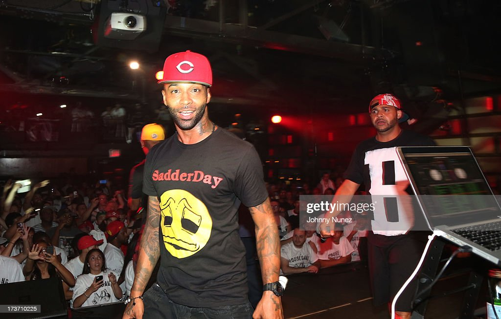 <a gi-track='captionPersonalityLinkClicked' href=/galleries/search?phrase=Joe+Budden&family=editorial&specificpeople=2277394 ng-click='$event.stopPropagation()'>Joe Budden</a> and <a gi-track='captionPersonalityLinkClicked' href=/galleries/search?phrase=Joell+Ortiz&family=editorial&specificpeople=4417373 ng-click='$event.stopPropagation()'>Joell Ortiz</a> of Slaughterhouse perform at Highline Ballroom on July 16, 2013 in New York City.