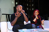 Joe Budden and Marisa Mendez perform during a live taping of #illnamethispodcastlater at SOB's on February 2 2016 in New York City