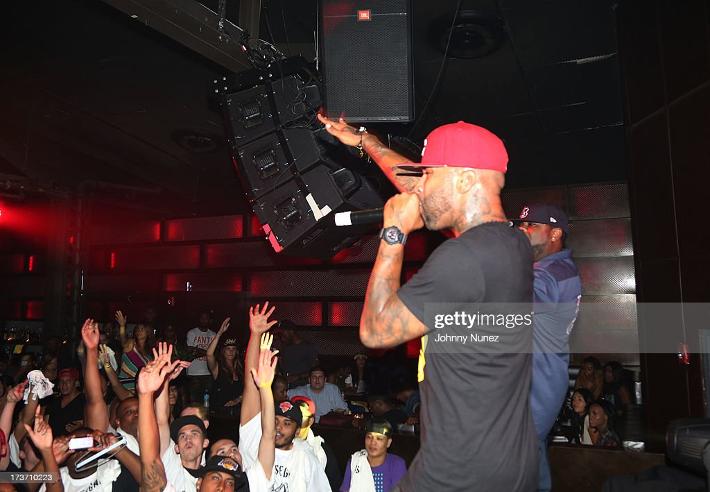 <a gi-track='captionPersonalityLinkClicked' href=/galleries/search?phrase=Joe+Budden&family=editorial&specificpeople=2277394 ng-click='$event.stopPropagation()'>Joe Budden</a> of Slaughterhouse performs at Highline Ballroom on July 16, 2013 in New York City.
