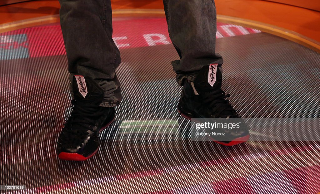 Joe Budden (shoe detail) visits BET's '106 & Park' at BET Studios on February 5, 2013 in New York City.