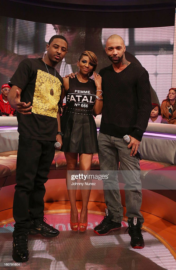 Joe Budden (R) visits BET's '106 & Park' with hosts <a gi-track='captionPersonalityLinkClicked' href=/galleries/search?phrase=Shorty+Da+Prince&family=editorial&specificpeople=9784723 ng-click='$event.stopPropagation()'>Shorty Da Prince</a> (L) and Ms. Mykie (c) at BET Studios on February 5, 2013 in New York City.
