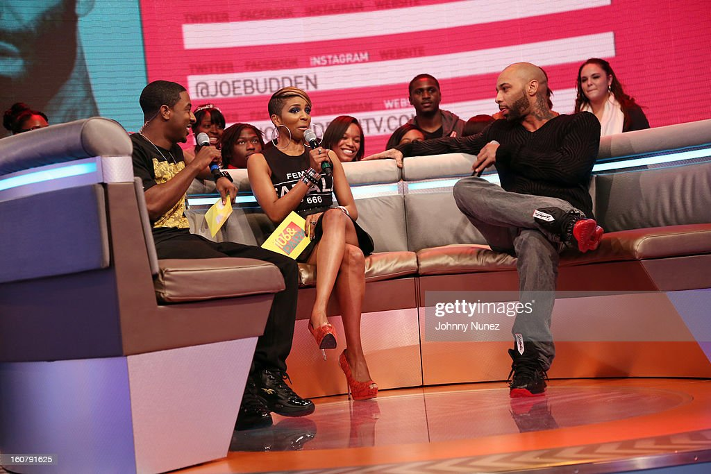 Joe Budden (R) visits BET's '106 & Park' with hosts Shorty Da Prince (L) and Ms. Mykie (c) at BET Studios on February 5, 2013 in New York City.