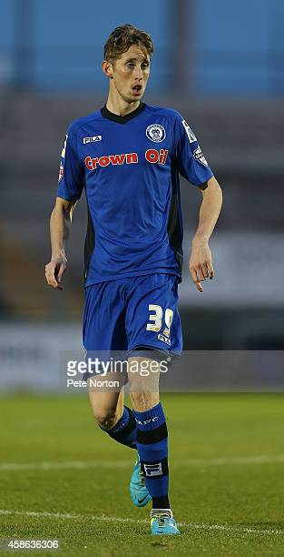 Joe Bunney of Rochdale in action during the FA Cup First Round match between Northampton Town and Rochdale at Sixfields Stadium on November 8 2014 in...