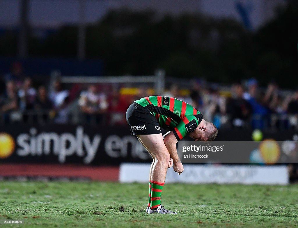 Joe Burgess of the Rabbitohs looks dejected after losing the round 17 NRL match between the South Sydney Rabbitohs and the North Queensland Cowboys at Barlow Park on July 3, 2016 in Cairns, Australia.