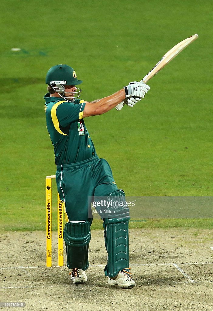 Joe Burns of Australia A bats during the international tour match between Australia 'A' and the England Lions at Blundstone Arena on February 16, 2013 in Hobart, Australia.