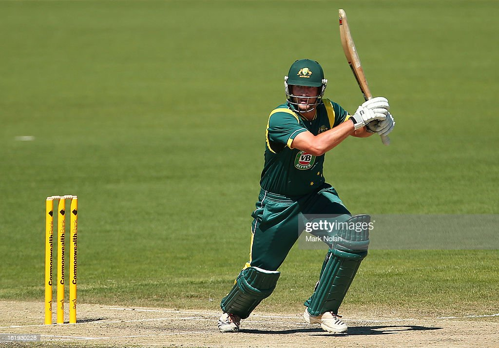 Joe Burns of Australia A bats during the international tour match between Australia 'A' and England at Blundstone Arena on February 18, 2013 in Hobart, Australia.