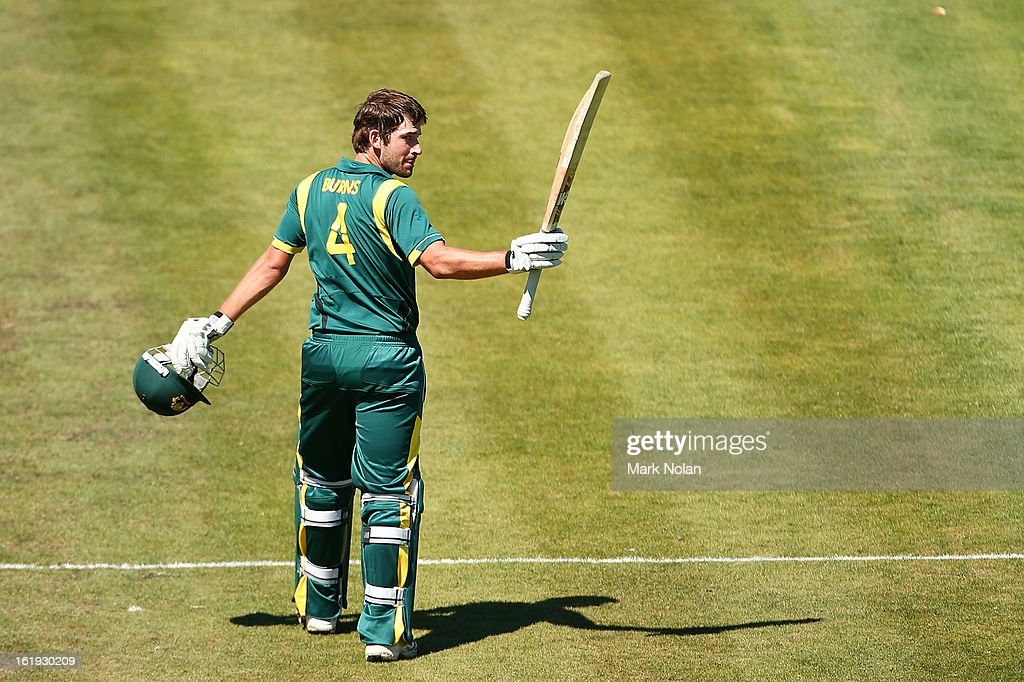 Joe Burns of Australia A celebrates his century during the international tour match between Australia 'A' and England at Blundstone Arena on February 18, 2013 in Hobart, Australia.