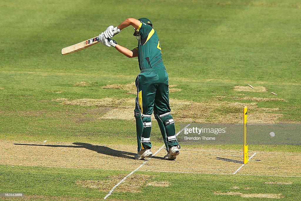 Joe Burns of Australia 'A' is bowled by Chris Wright of the Lions during the International Tour match between Australia 'A' and the England Lions at Sydney Cricket Ground on February 25, 2013 in Sydney, Australia.