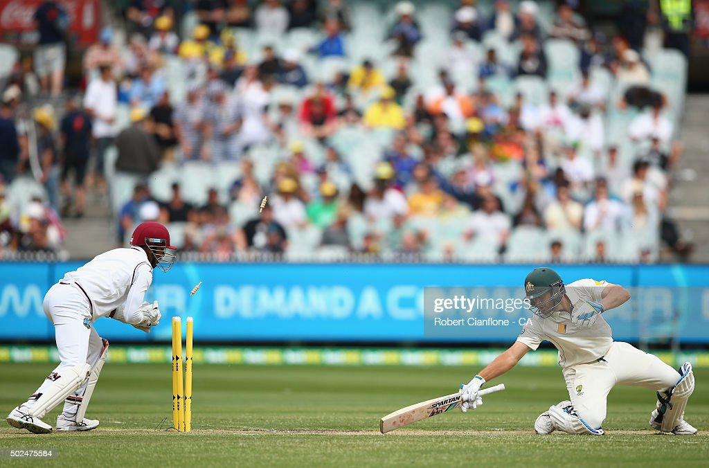 Joe Burns of Australia is stumped by Denesh Ramdin of the West Indies during day one of the Second Test match between Australia and the West Indies at the Melbourne Cricket Ground on December 26, 2015 in Melbourne, Australia.