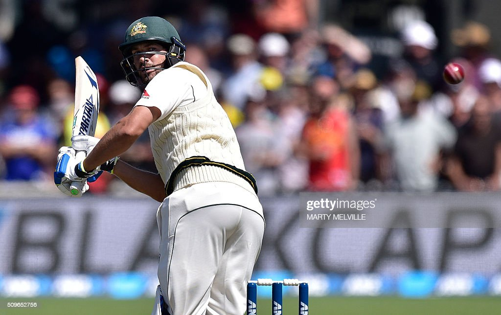 Joe Burns of Australia plays a shot behind during the first cricket Test match between New Zealand and Australia at the Basin Reserve in Wellington on February 12, 2016. AFP PHOTO / MARTY MELVILLE / AFP / Marty Melville