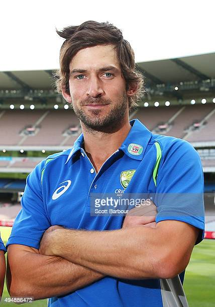 Joe Burns of Queensland poses after being named in the Australian test team during day three of the Sheffield Shield match between Victoria and...