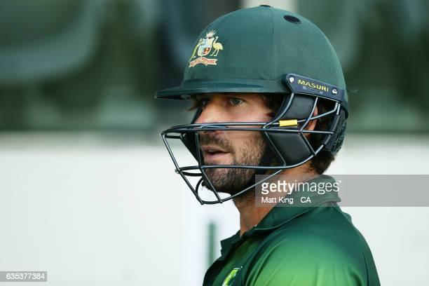 Joe Burns of the Australian PMXI prepares to bat during the T20 warm up match between the Australian PM's XI and Sri Lanka at Manuka Oval on February...