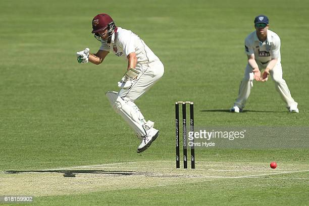 Joe Burns of the Blues bats during day two of the Sheffield Shield match between Queensland and New South Wales at The Gabba on October 26 2016 in...