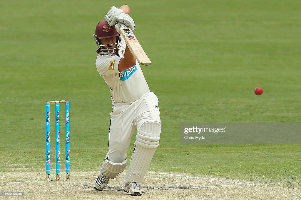 Joe Burns of the Bulls bats during day two of the Sheffield Shield match between the Queensland Bulls and the Tasmanian Tigers at The Gabba on March 8, 2013 in Brisbane, Australia.