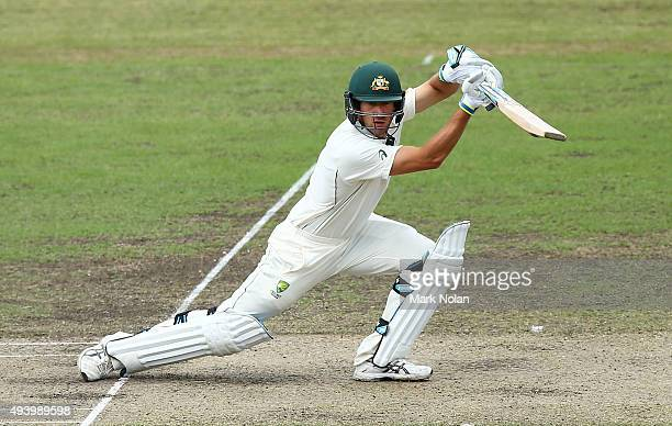 Joe Burns of the CA XI bats during the tour match between the Cricket Australia XI and New Zealand at Manuka Oval on October 24 2015 in Canberra...