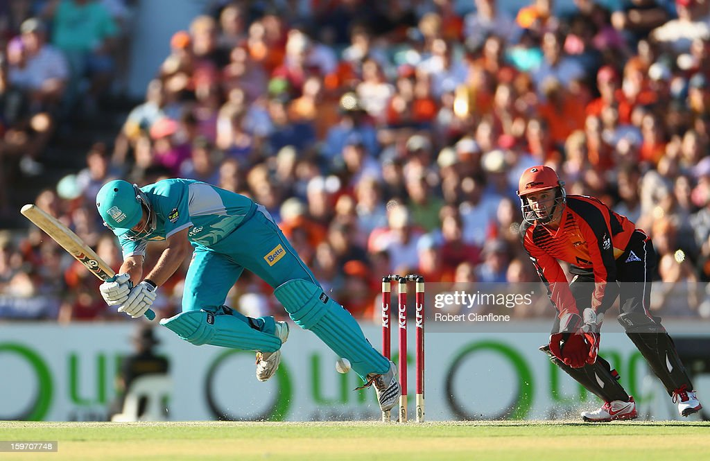 Joe Burns of the Heat bats during the Big Bash League final match between the Perth Scorchers and the Brisbane Heat at WACA on January 19, 2013 in Perth, Australia.