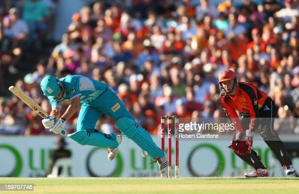 Joe Burns of the Heat bats during the Big Bash League final match between the Perth Scorchers and the Brisbane Heat at WACA on January 19 2013 in...